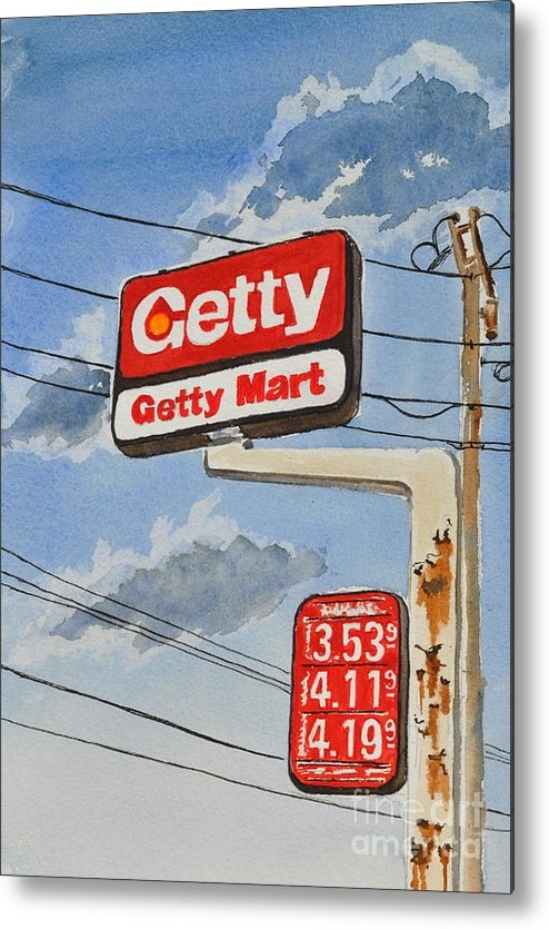 Metal Print featuring the painting Getty Mart by Andrea Timm