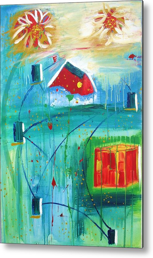 Abstract Metal Print featuring the painting Happiness by Laurie Larkin-Boyle