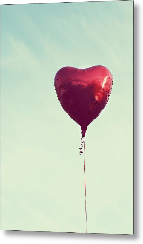 Vertical Metal Print featuring the photograph Heart Balloon by Libertad Leal Photography