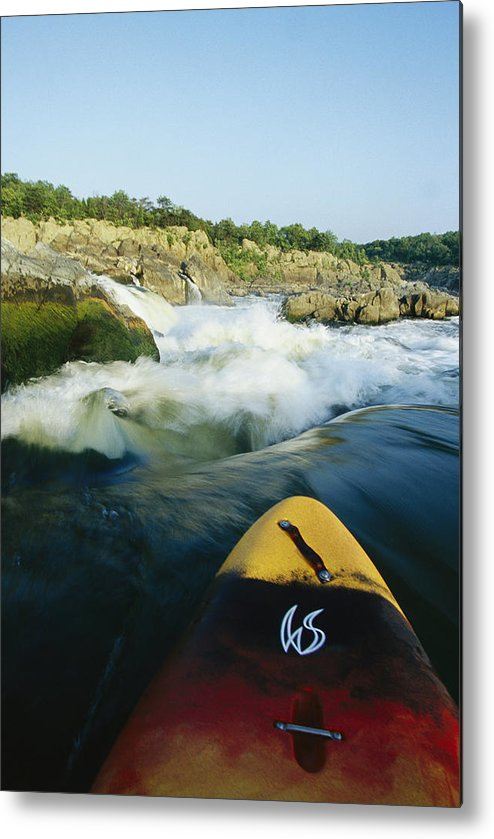 North America Metal Print featuring the photograph Kayak Noses Its Way Toward A Waterfall by Skip Brown
