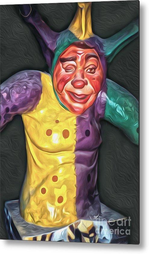 Mardi Gras World - Jestor Metal Print featuring the painting Mardi Gras World - Jestor by Gregory Dyer