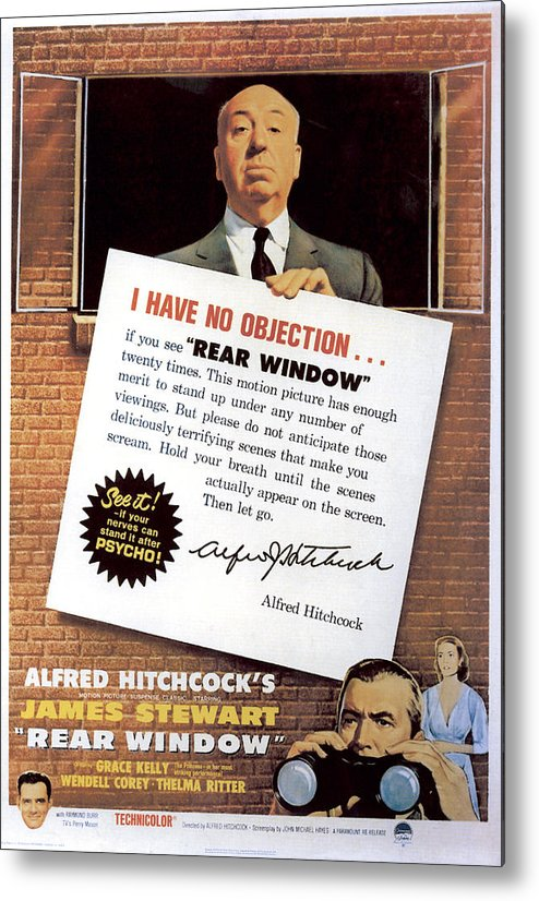 1950s Movies Metal Print featuring the photograph Rear Window, Alfred Hitchcock, James by Everett