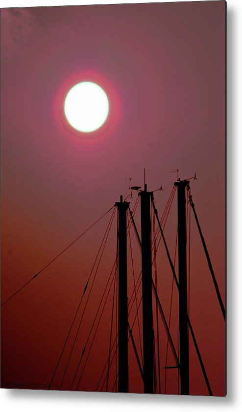 Sailing Ships Mast At Dusk Metal Print featuring the pyrography Red Sky by Gib LaStrapes