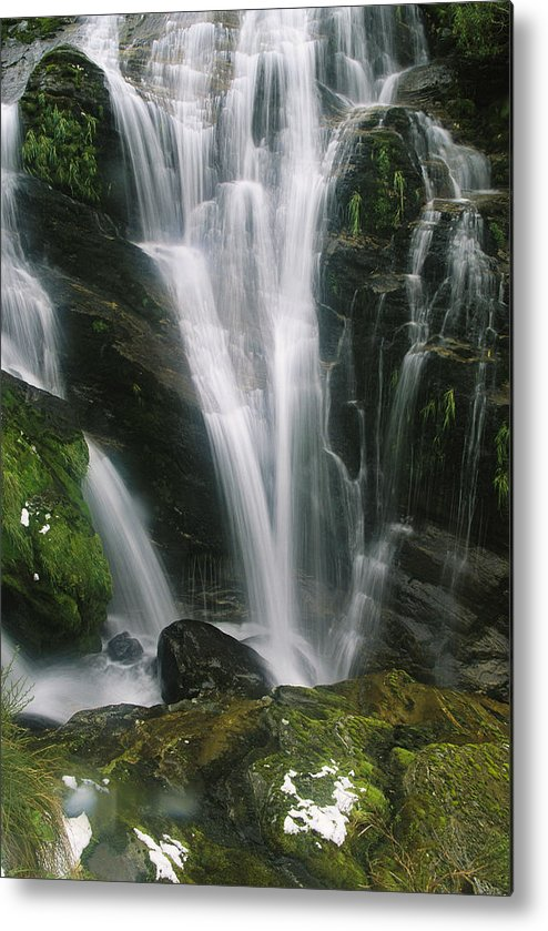 Pacific Islands Metal Print featuring the photograph Small Waterfall Near The Milford Track by Mark Cosslett