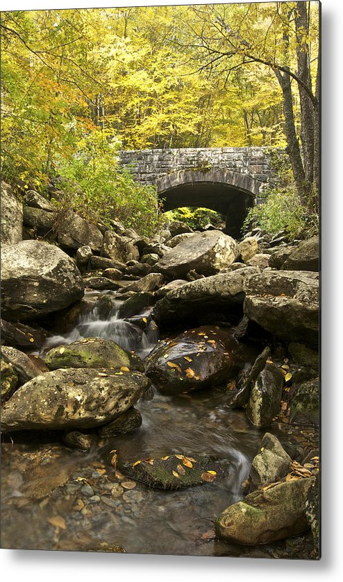 Autumn Metal Print featuring the photograph Tennessee Stone Bridge 6062 by Michael Peychich