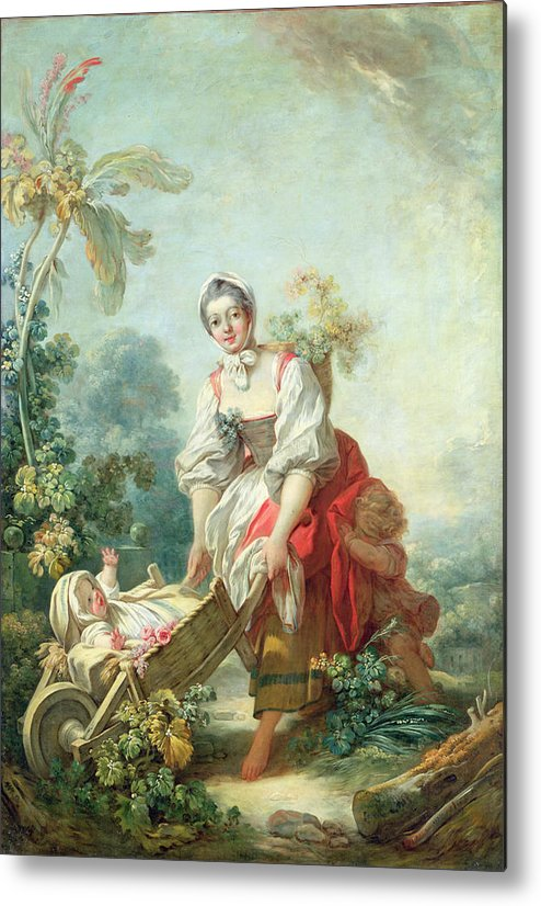 Maternal Metal Print featuring the painting The Joys Of Motherhood by Jean-Honore Fragonard