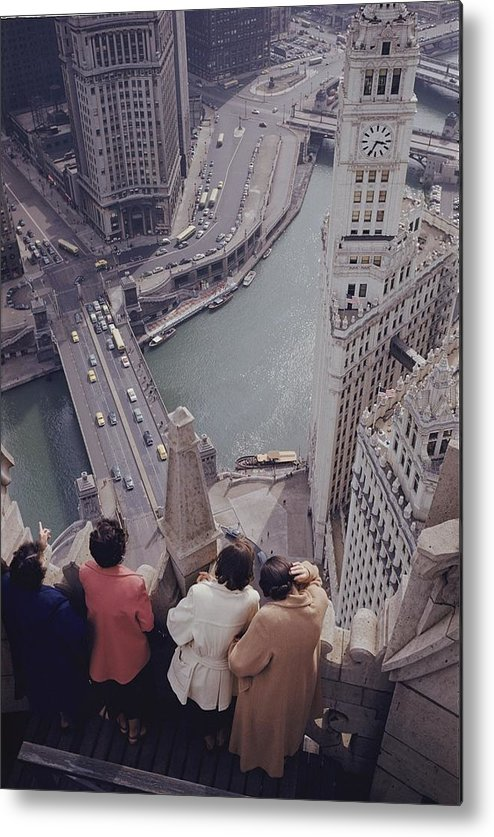 chicago River Metal Print featuring the photograph Tourists Looking Down On The Chicago by B. Anthony Stewart