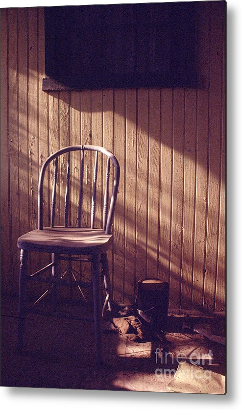 Chair Metal Print featuring the photograph Just Stepped Out For Sugar by Steven Godfrey