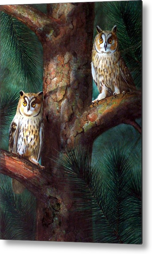 Wildlife Metal Print featuring the painting Owls In Moonlight by Frank Wilson