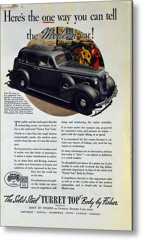 1936 Buick Century Metal Print featuring the photograph 1936 Buick Century Classic Ad by Allen Beilschmidt
