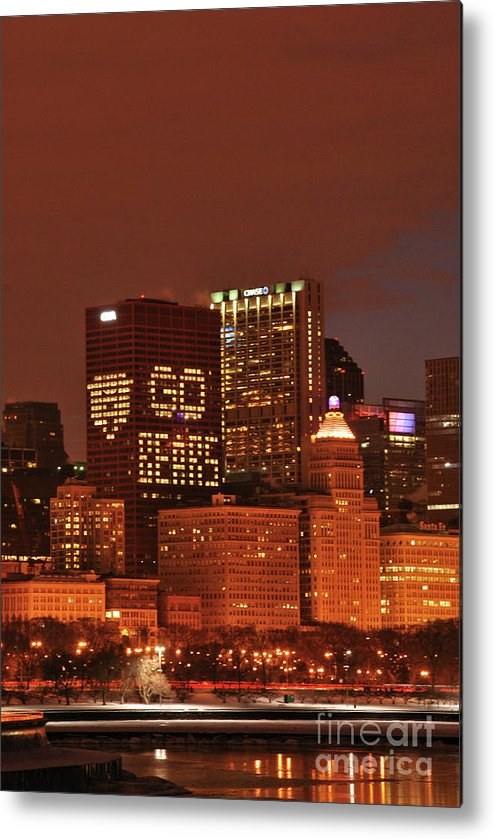 Chicago Metal Print featuring the photograph Chicago Nighttime Skyline by Michelle Hastings