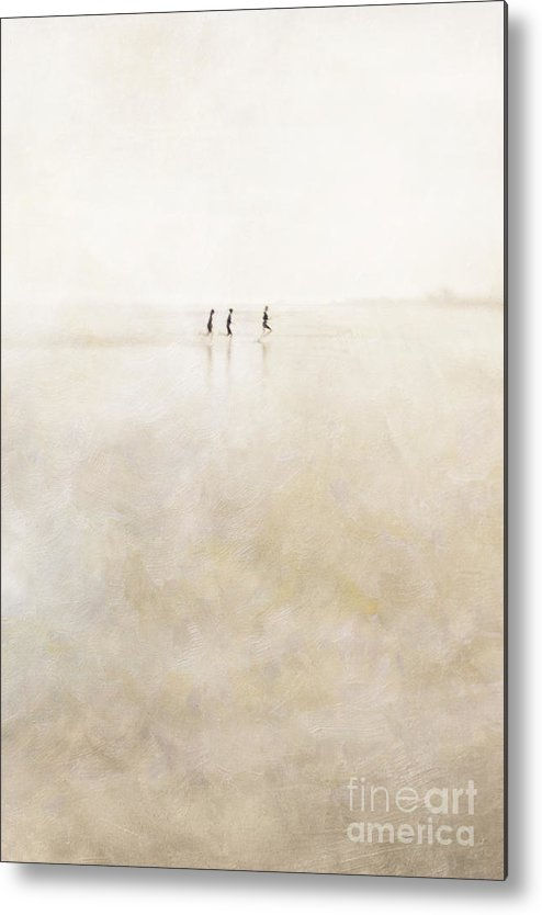 3 Metal Print featuring the photograph 3 Girls Running by Paul Grand