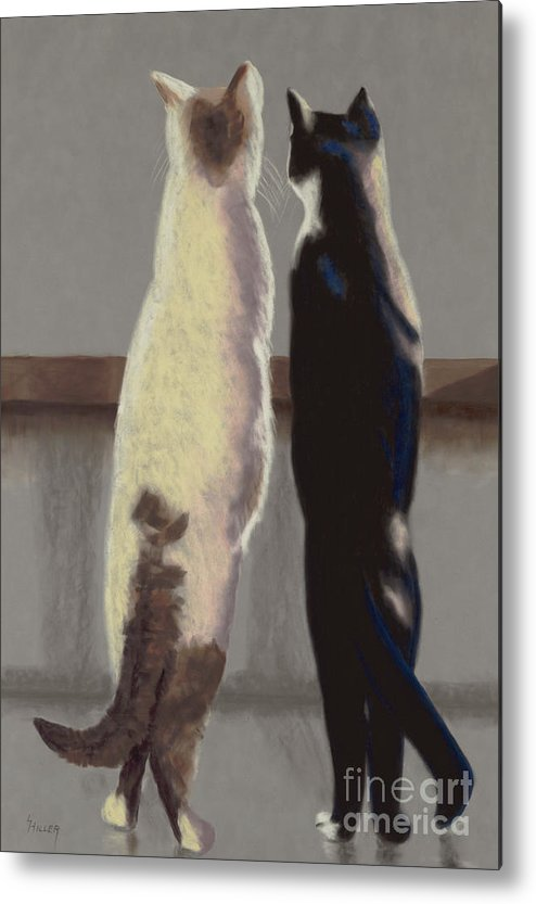 Cat Metal Print featuring the painting A Bird by Linda Hiller