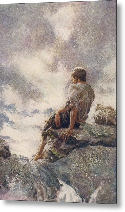 Robinson Metal Print featuring the drawing After Being Shipwrecked Robinson Crusoe by Vintage Design Pics
