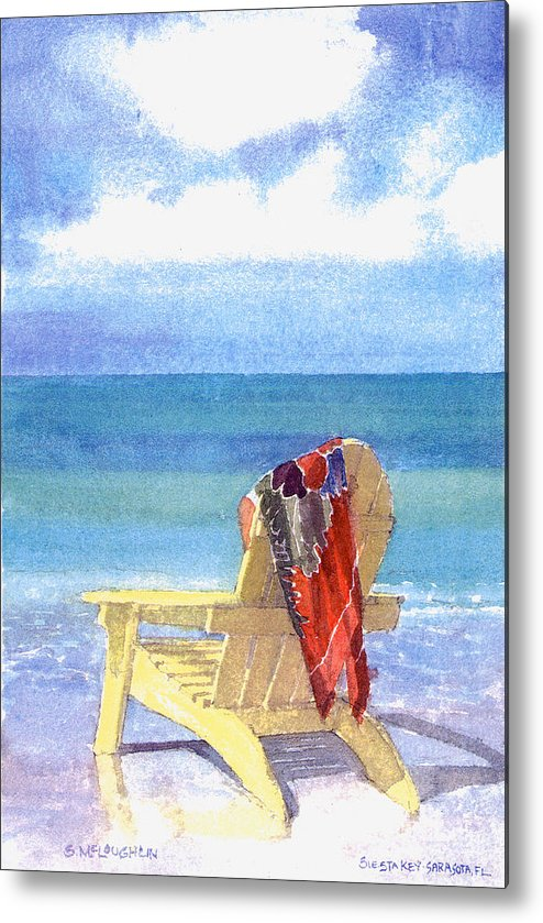 Beach Metal Print featuring the painting Beach Chair by Shawn McLoughlin