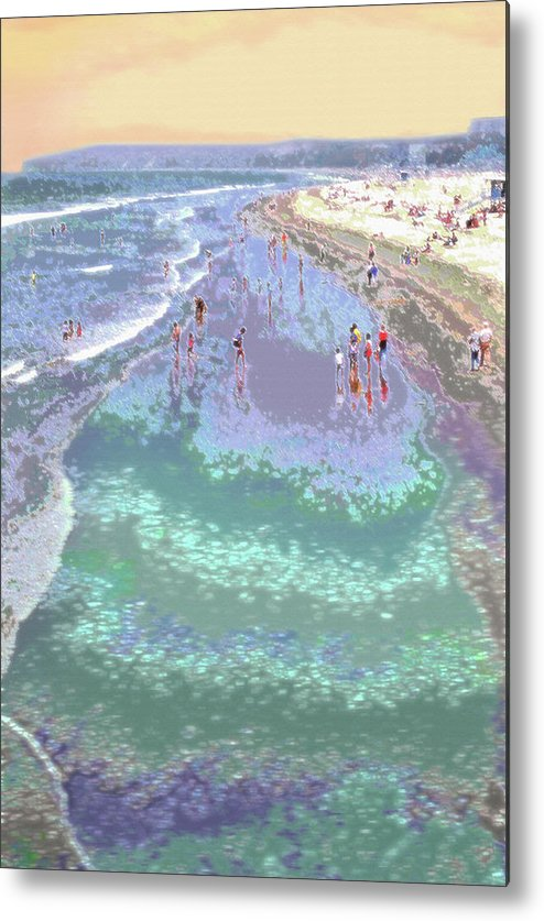 California Metal Print featuring the photograph Beachgoers 2 by Steve Ohlsen