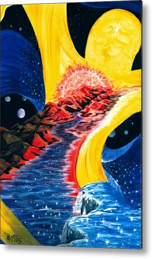 Woman Floating In Space Metal Print featuring the painting Beauty Within by Pam Ellis