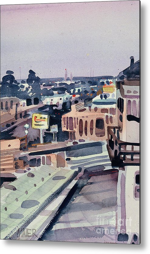 City Metal Print featuring the painting Belmont Evening by Donald Maier