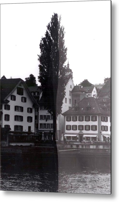 Black And White Metal Print featuring the photograph Black Lucerne by Christian Eberli