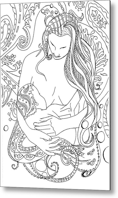 Birth Metal Print featuring the drawing Breastfeeding Is Beautiful by Kate Evans