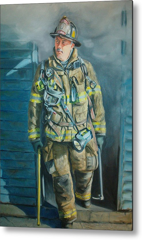 Firefighter Metal Print featuring the painting Captain Harris by Paul Walsh