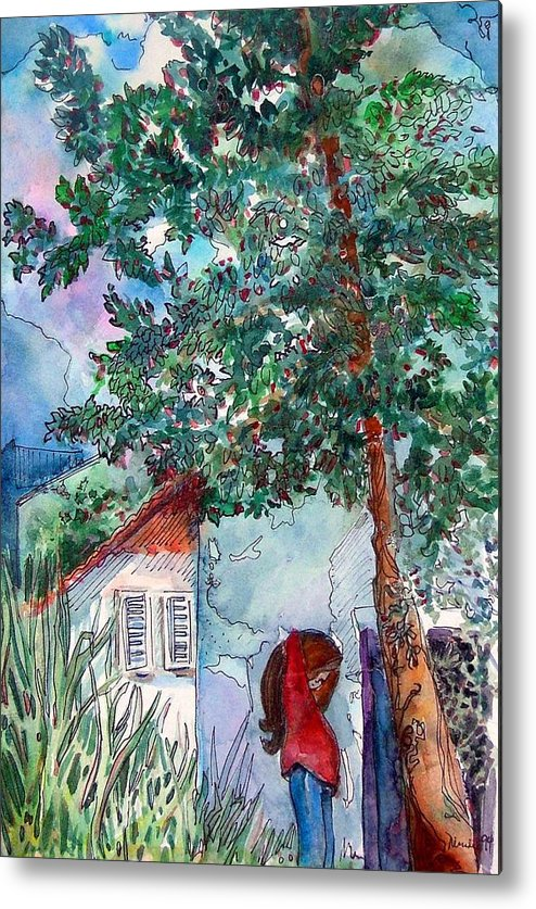 Child Metal Print featuring the drawing Child Of Paros by Mindy Newman
