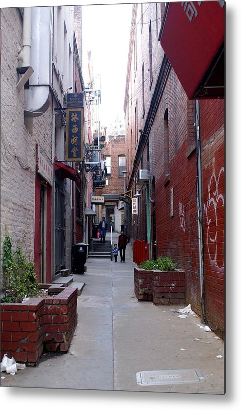 San Francisco Metal Print featuring the photograph Chinatown Alley by Sonja Anderson