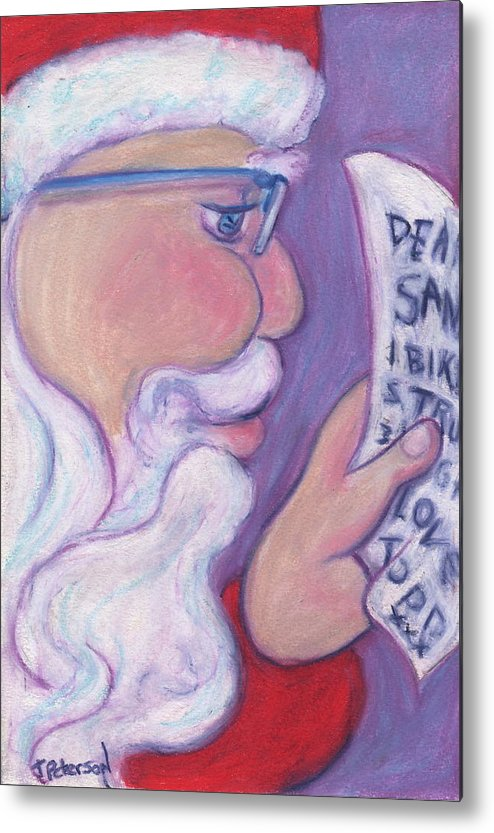 Santa Metal Print featuring the painting Christmas Wishes by Todd Peterson