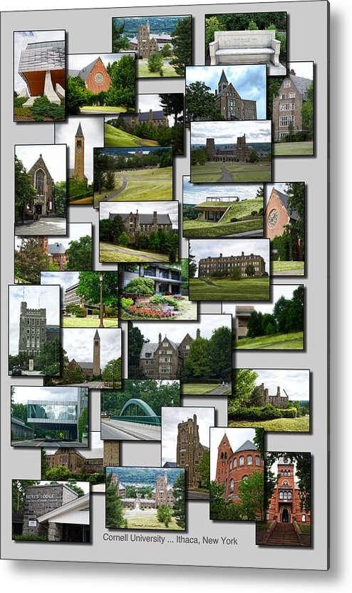 Cornell University Metal Print featuring the photograph Collage Cornell University Ithaca New York Vertical 02 by Thomas Woolworth