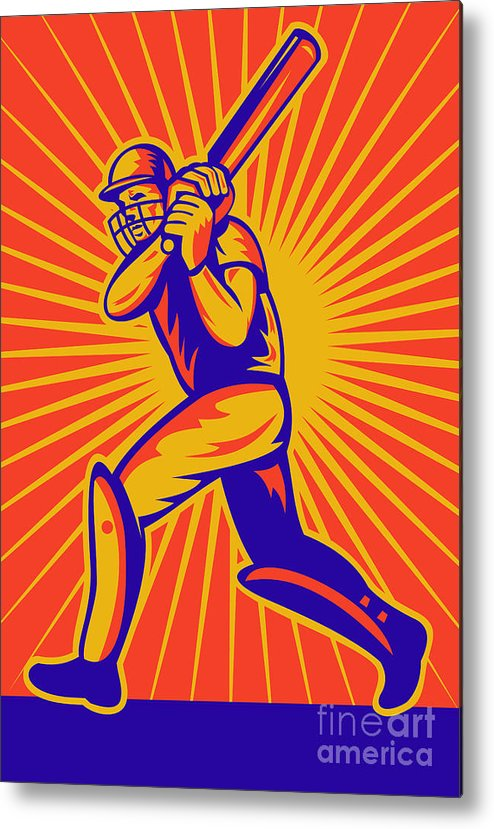 Cricket Metal Print featuring the digital art Cricket Sports Batsman Batting by Aloysius Patrimonio