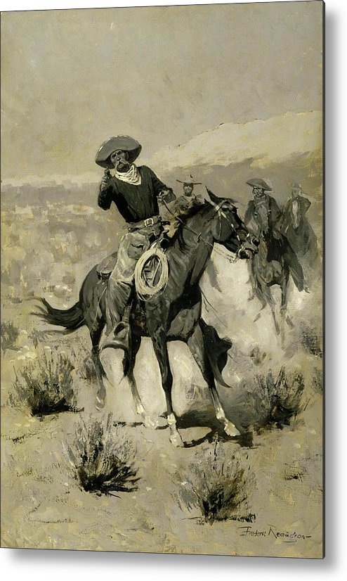 Range Metal Print featuring the painting Days On The Range by Frederic Sackrider Remington