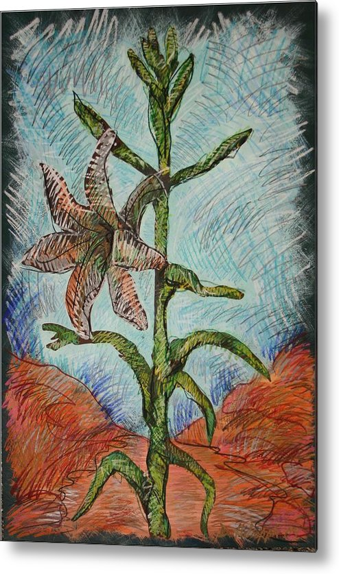 Lily Metal Print featuring the painting Desert Lily by Dodd Holsapple