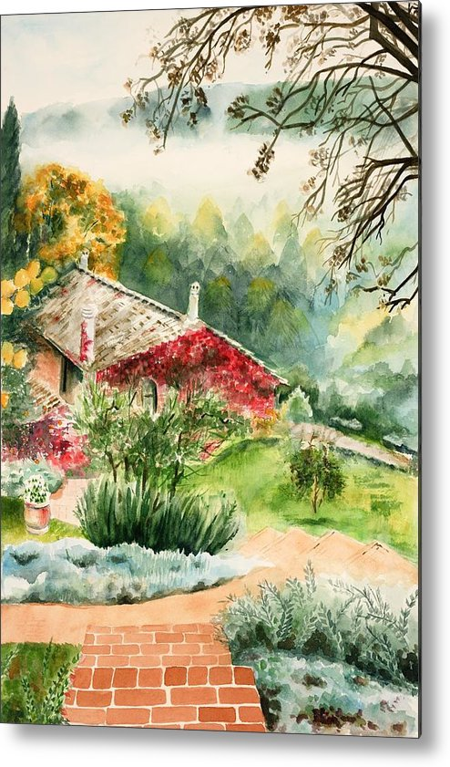 View Of Pathway To Red Cottage And Mountains In Mist Metal Print featuring the painting Dievole Vineyard In Tuscany by Judy Swerlick