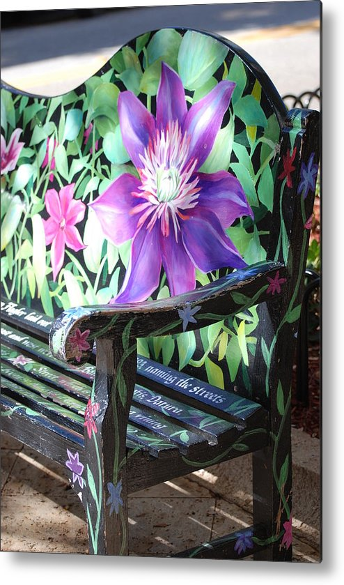Macro Metal Print featuring the photograph Flower Bench by Rob Hans