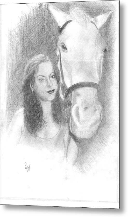 Horse Metal Print featuring the drawing Girl And Horse by Reza Naqvi