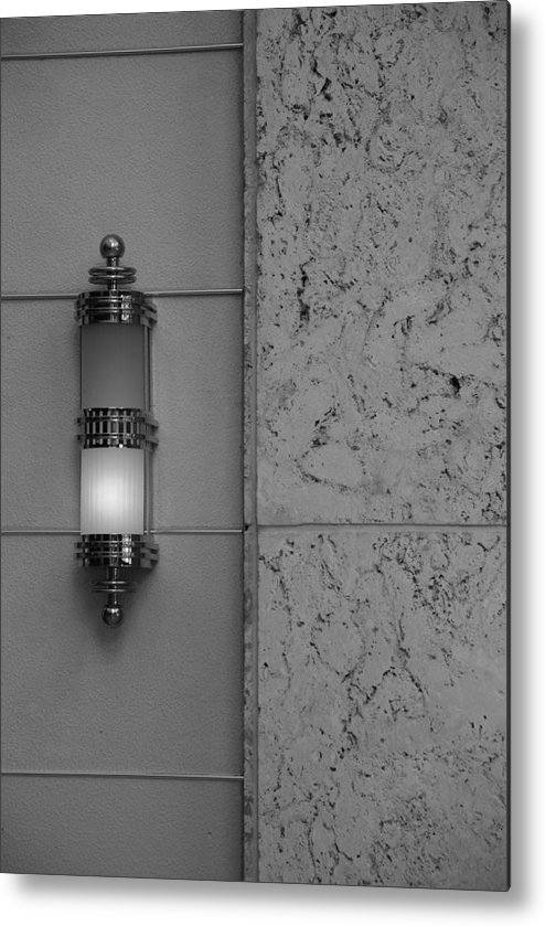 Sconce Metal Print featuring the photograph Half Lit Wall Sconce by Rob Hans