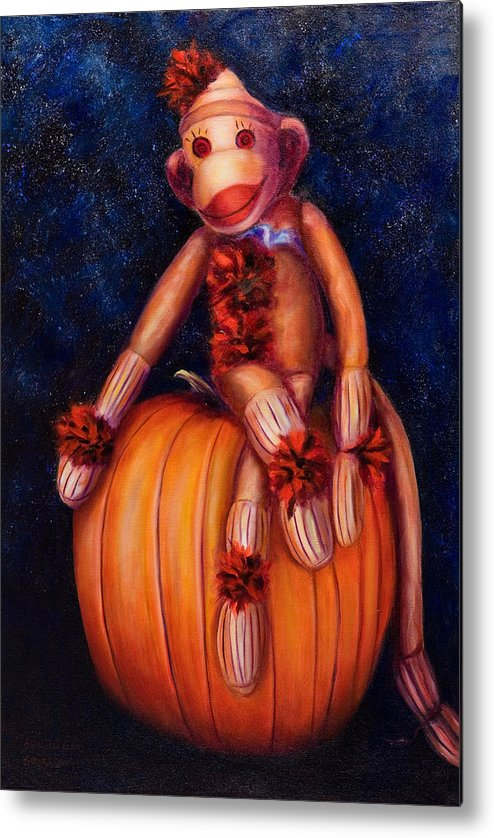 Pumpkin Metal Print featuring the painting Halloween by Shannon Grissom