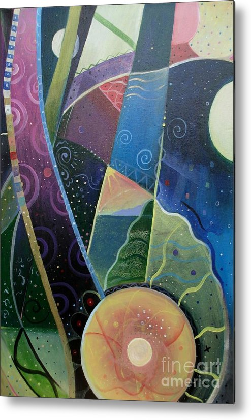 Multi-dimensional Metal Print featuring the painting Here And There by Helena Tiainen