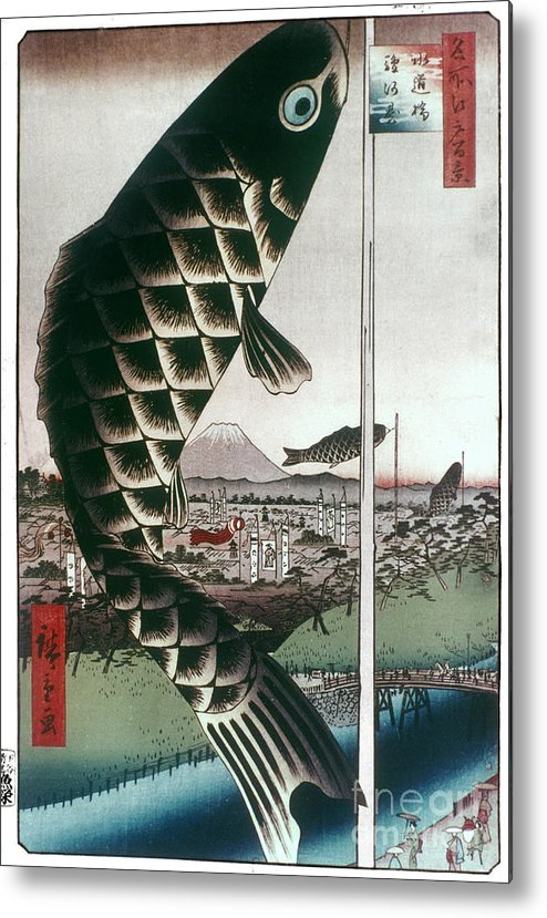 100 Famous Views Of Edo Metal Print featuring the photograph Hiroshige: Kites, 1857 by Granger