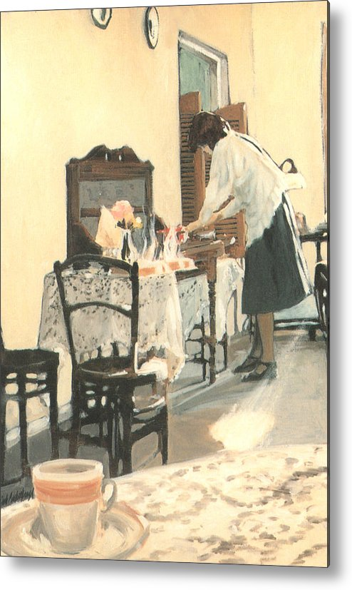 Painting Metal Print featuring the painting Hot Scones For Tea by Linda Crockett