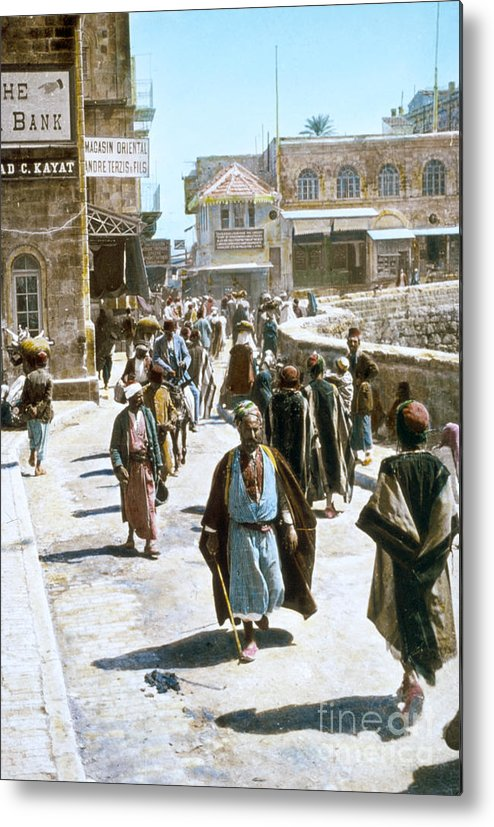 1950s Metal Print featuring the photograph Jerusalem Street Scene by Granger