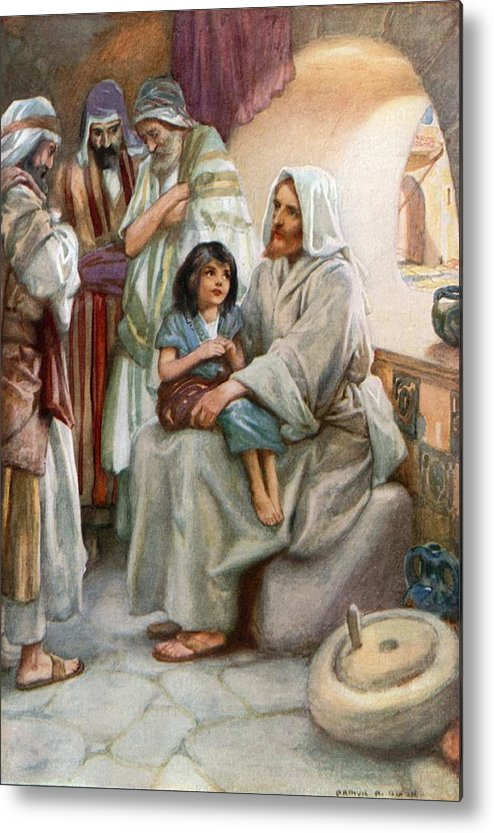 Bible; Biblical; Stories; Jesus; Teaching; People Metal Print featuring the painting Jesus Teaching The People by Arthur A Dixon