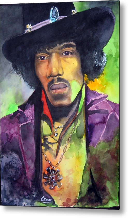 Portrait Metal Print featuring the painting Jimi by Kirby Crow