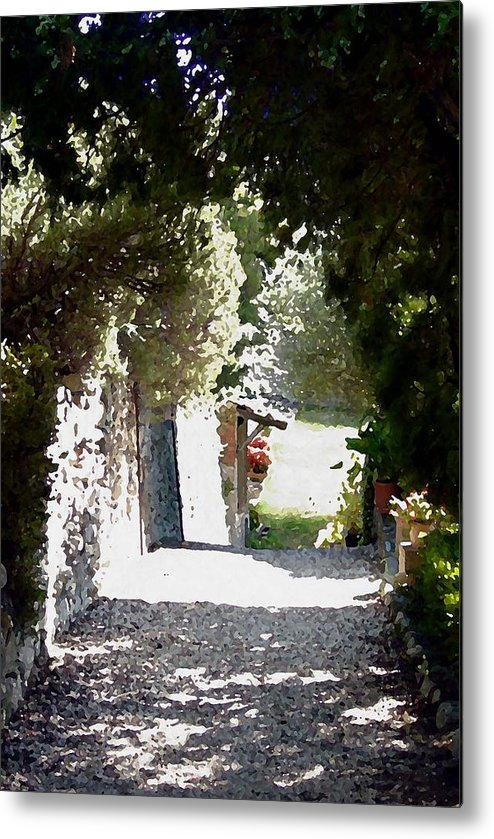 La Romita Metal Print featuring the digital art La Romita Garden Path by Tom Herrin