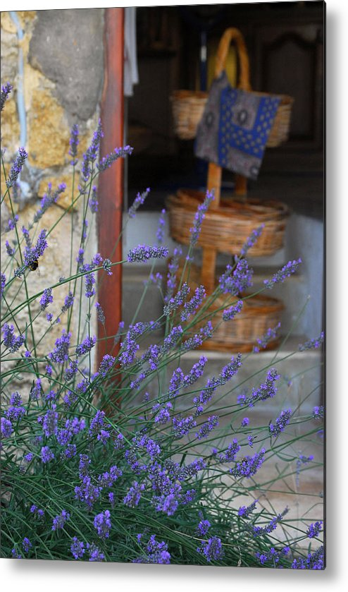 Provence Metal Print featuring the photograph Lavender Blooming Near Stairway by Anne Keiser