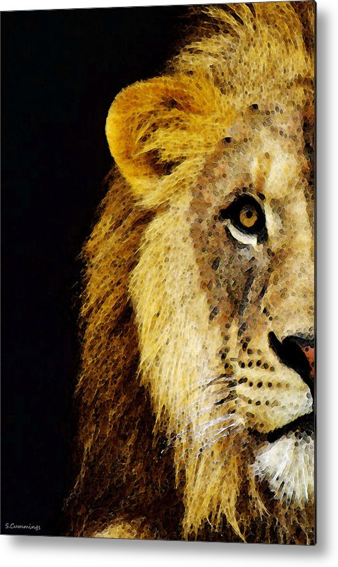 Lions Metal Print featuring the painting Lion Art - Face Off by Sharon Cummings