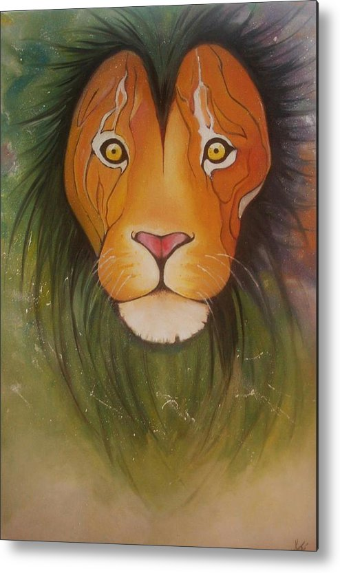 #lion #oilpainting #animal #colorful Metal Print featuring the painting Lovelylion by Anne Sue