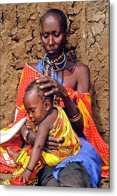 Africa Metal Print featuring the photograph Maasai Grandmother And Child by Michele Burgess