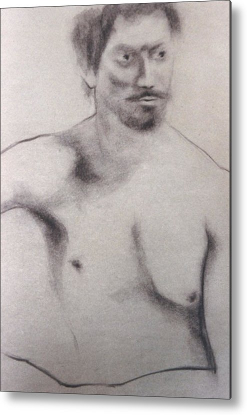Metal Print featuring the drawing Man With Mustachio by Michael Rutland