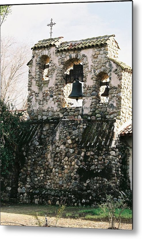 Landscape Metal Print featuring the photograph Mission Bells On Side Wall by Edward Wolverton